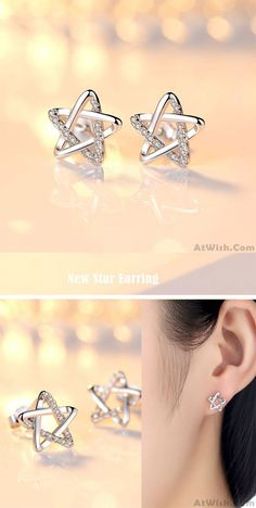So cute earrings ! Cute Zircon Star Hollow Women Shining Star Silver Earring Studs So cute earrings ! Diamond Studs, Diamond Jewelry, Gold Jewelry, Diamond Earrings, Platinum Earrings, Men's Jewellery, Designer Jewellery, Jewellery Designs, Jewelry Accessories