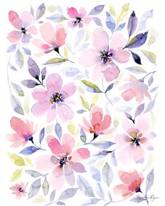 Art Print Resting Garden Archival quality print reproduction of my watercolor art painting, Resting Watercolor Art Paintings, Watercolor Plants, Floral Watercolor, Flowery Wallpaper, Pattern Wallpaper, Cute Wallpapers, Wallpaper Backgrounds, Floral Prints, Art Prints