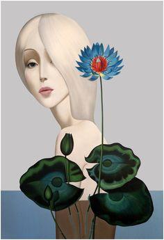 Slava Fokk's Stylized Paintings of Women | Hi-Fructose Magazine