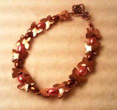 Unique Copper and Pearl Bracelet