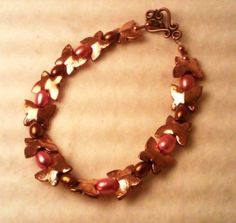 Unique Copper and Pearl Bracelet
