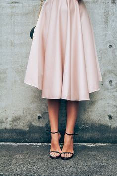 pink satin circle skirt #fall #fashion #clothing