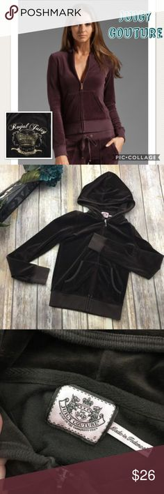 Juicy Couture Brown Velour Zipup Hooded Sweater Brown velour zip up hooded sweater. Size small. In excellent used condition. Has design on the back of sweater. 22 inches long. 15 inches bust line laying flat without stretching material. Has pockets in the front. Juicy Couture Tops Sweatshirts & Hoodies