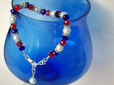 Red White And Blue Jewelry | Patriotic Jewelry Red White and Blue Bracelet Beaded with Rondelle ...