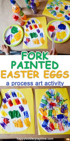 Fork Painted Easter Eggs – HAPPY TODDLER PLAYTIME