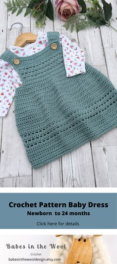 Crochet Baby Dress Pattern Available in sizes from new-born to 24 months, crochet yours today! baby dress winter Crochet Baby Dress Pattern Available in sizes from new-born to 24 m. Crochet Baby Dress Free Pattern, Baby Dress Patterns, Baby Clothes Patterns, Baby Girl Crochet, Crochet Baby Clothes, Crochet Baby Hats, Clothing Patterns, Baby Knitting, Booties Crochet