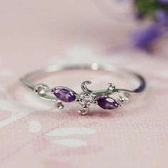 Silver Amethyst & White CZ Floral Ring by tooriginal on Etsy, $48.00