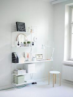 Work space Mac and string shelf Small Office Storage, Small Office Design, Home Office Design, Home Office Decor, Home Decor, Workspace Inspiration, Interior Design Inspiration, Room Inspiration, String Shelf