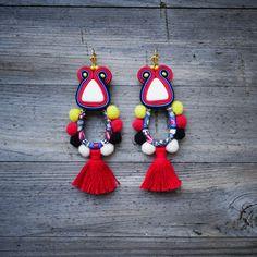 Boho Style Rainbow Soutache Earrings,etnic earrings orecchini soutache,boucles d'oreilles, pink, yellow, red, gold, pompoms by RainbowSoutache on Etsy