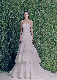 Zuhair Murad Fall-Winter 2014-2015 - Bridal   This appears to detach below the first ruffle for a mid-thigh length reception dress
