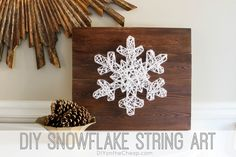 #DIY #winter snowflake with a wooden board, string, and nails.