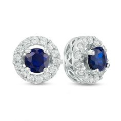 Zales 8.0mm Lab-Created Blue Sapphire Stud Earrings in 10K White Gold LF73l