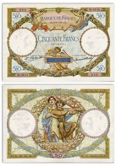 france money | 50 Francs 13.8.1931 (Angels, Mercury, woman) [ Obverse & Reverse ]