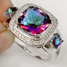 Pretty!  9.23cts NATURAL RAINBOW TOPAZ GEMSTONE 925 SILVER RING JEWELRY