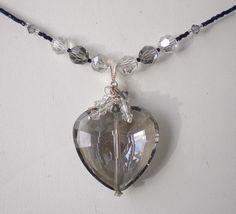 Romantic Black Diamond Swarovski Crystal Heart by MagdaleneJewels @magdalenejewels