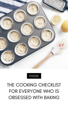If you've ever baked anything, you know that you need a certain amount of equipment. Unlike cooking, when you bake you have to measure… Cake Storage, Mini Muffin Pan, Cute Aprons, Baking Set, Yummy Food, Tasty, Paper Cupcake, Mixing Bowls, Mini Muffins