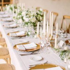 An Elegant, Intimate Wedding in the French Countryside Wedding Reception Table Decorations, Wedding Table Linens, Wedding Centerpieces, Countryside Wedding, French Countryside, White Floral Arrangements, Trends 2016, Elegant Table Settings, Martha Stewart Weddings