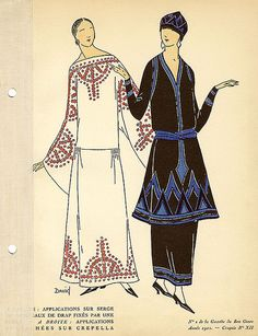 Date: 1922    Description: On the left, serge dress decorated with cloth fixed with a pearl, or bead; on the right, crepe dress trimmed with soutache