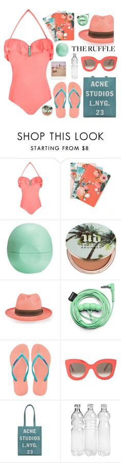 """Ruffled Summer!!!!"" by karineminzonwilson ❤ liked on Polyvore featuring Chronicle Books, Eos, Urban Decay, Prymal, Urbanears, Havaianas, Barneys New York, CÉLINE, Polaroid and Acne Studios"