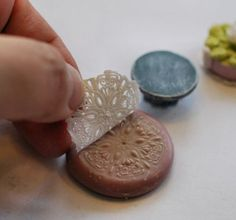 Miniature doily made with liquid clay tutorial by Christel Jensen...could make nice cabinet knobs