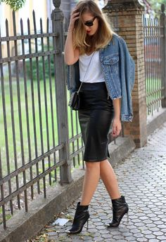 Leather pencil skirt, plain white tee, jean jacket & love the shoes