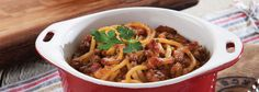 A delicious, oven-baked dish that takes the classic spaghetti bolognese recipe and dresses it up in a snazzy new jacket - all courtesy of Spur Sauces. Bolognese Recipe, Spaghetti Bolognese, Cooking Oil, Oven Baked, Kos, How To Dry Basil, Baking Recipes, Fries, Bacon
