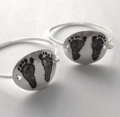 Your Child's Actual Footprints Silver Bracelet --Made to Order. via Etsy.