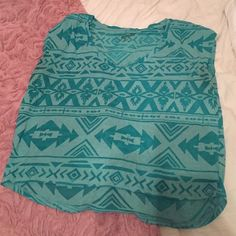 Teal cropped Aztec shirt Worn a few times. Great for summer. Cropped T shirt. Very comfy Arizona Jean Company Tops Tees - Short Sleeve