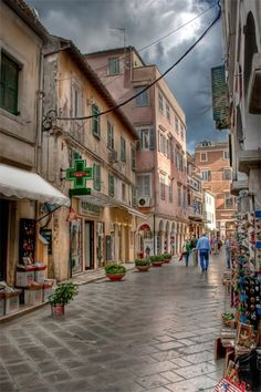 Corfu / Kerkyra Greece - I don't like shopping but here, I'll walk the streets browsing for ages . Places Around The World, The Places Youll Go, Travel Around The World, Places To See, Around The Worlds, Corfu Holidays, Corfu Town, Melbourne, Corfu Island