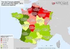 Part des Français satisfaits de vivre dans leur région - 2013 - Ecarts à la moyenne
