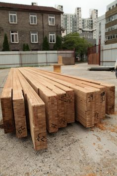The Construction Work Start With The Reprocessed of Bamboo Beam China Shanghai Solar decathlon 2012