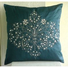 Teal Damask Throw Pillow Covers 18x18 Inches por TheHomeCentric