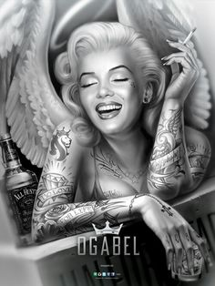 OMFG cpuld it get any better i was saying as i was looking through og able stuff and then it did it got better....marilyn monroe smoking a cigarette covered in tatts!#tats#style#cigarette