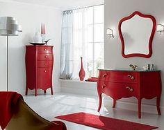 Bathroom, The Enjoying Design Also Bathroom Also Red Furniture Also White Wall Also Luxury Bathroo Vanity Also Beautiful Sink Also Faucet: The New Style Innovation Of The Luxury Bathroom Vanities The Best Solution To Design The Room Really Beautiful Luxury Bathroom Vanities, Bathroom Vanity Designs, Bathroom Red, Bathrooms, Modern Bathroom, Master Bathroom, Bathroom Ideas, Interior Design Blogs, Bathroom Furniture