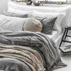 Luxurious European Linen Bedding & Linen Sheets - It's been a long day. If only we were in Milan like our linen. Grey Bedding, Luxury Bedding, Bedding Sets, Luxury Bed Linens, Bedding For Men, Neutral Bedding, Cozy Bedroom, Modern Bedroom, Bedroom Decor