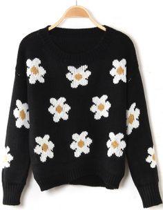 Black Long Sleeve Sunflower Pattern Knit Sweater US$23.77 http://www.sheinside.com/Black-Long-Sleeve-Sunflower-Pattern-Knit-Sweater-p-145367-cat-1734.html