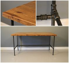 Industrial Urban Reclaimed Wood Desk with Raw Charcoal by DendroCo, $520.00