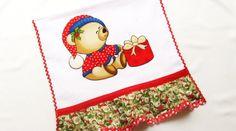 Pano de prato de Natal com ursinho em patch aplique