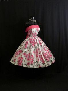 Vintage Pink Roses Floral Taffeta Party Dress/OMGosh I love this 50s Dresses, Lovely Dresses, Beautiful Outfits, Vintage Dresses, Vintage Outfits, Vintage Clothing, Wedding Dresses, 1950s Fashion, Vintage Fashion