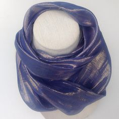 Shimmer Blue Eternity scarf, Denim Blue loop scarf, Iridescent blue cowl neck scarf, Sparkly blue scarf by blingscarves. Explore more products on http://blingscarves.etsy.com