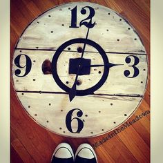 Items similar to Cable Spool Clock on Etsy Wooden Cable Spools, Wood Spool, A Wrinkle In Time, Woodworking, Crafty, Clocks, Handmade Gifts, Vintage, Etsy