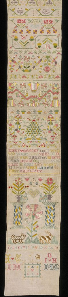 Beautiful sampler embroidered in silk floss by Mary Groome,1704.It is likely that Mary was a child,as it is typical of the sort of patterns given to young girls to work at that time.She could have been anywhere from 7 to 12 years of age(though I feel she was 11 or 12,can't say why,just a feeling!)Sampler, Mary Groome, 1704. Museum no. T.125-1992