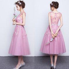 H95 pink lace bridesmaid dress, tea length bridesmaid dresses, lace homecoming dresses, lace bridesmaid dresses, short bridesmaid dresses
