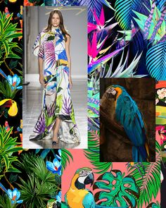New Spring/Summer 2020 Print Trend 'Bird Life' is now live on our site. Spring/Summer 2020 is full of tropical gardens where exotic birds display their brightly coloured plumes amongst the dense folia 2020 Fashion Trends, Spring Fashion Trends, Tropical Flowers, Tropical Gardens, Tropical Colors, Tropical Pattern, Color Patterns, Print Patterns, Tropical Background