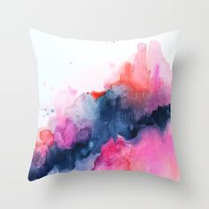 Abstract watercolor Orange Pink Throw Pillow by Jen Merli - Cover x with pillow insert - Indoor Pillow Pink Throws, Pink Throw Pillows, Designer Throw Pillows, Watercolor Fabric, Abstract Watercolor, Fabric Painting, Pillow Pals, Felt Pillow, Plush Pillow