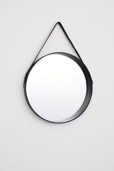 H & M Round Mirror with Leather Frame - Black - Mirror
