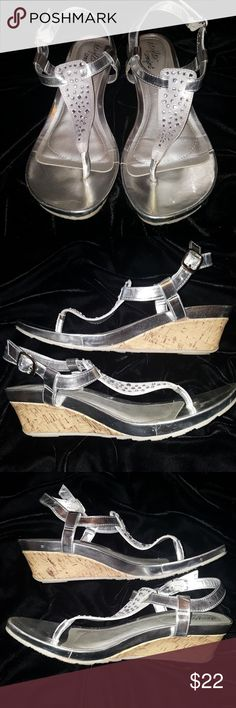 Selling this Silver metallic bling wedge sandals on Poshmark! My username is: aprilwidon. #shopmycloset #poshmark #fashion #shopping #style #forsale #Shoes