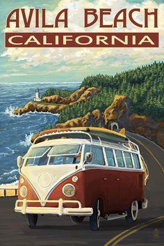 Print (Avila Beach, California - VW Van - Lantern Press Artwork)