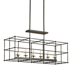 Fitzjames Rectangular Chandelier | Currey and Company #9817 18H-61H (ADJUSTABLE) X 13D X 36W  $620.00