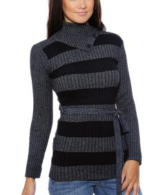 Black & Gray Thick Stripe Belted Sweater